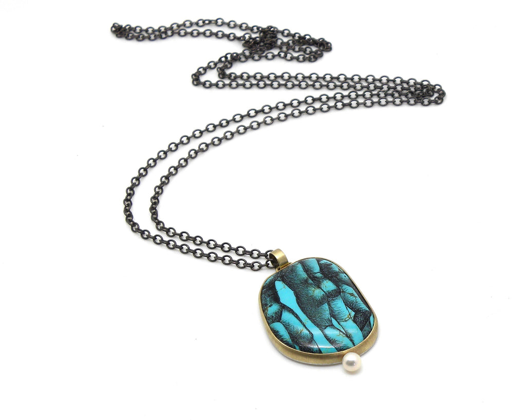 The Three Graces Turquoise + Pearl Scrimshaw Necklace - Hannah Blount Jewelry