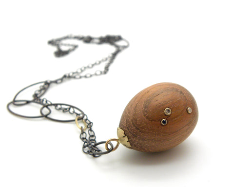 Custom Speckled Wooden Egg Necklace-Hannah Blount Jewelry