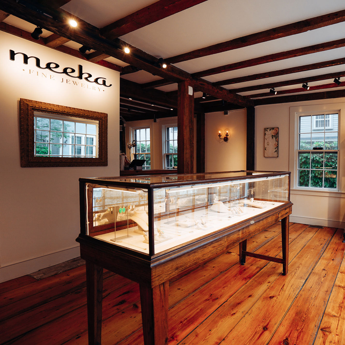 Shot of long, glass jewelry case at Meeka in Camp Hill, PA