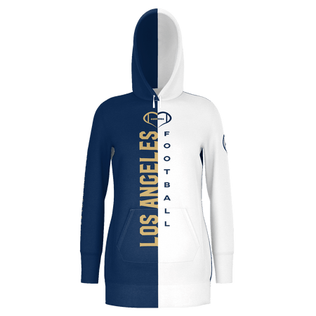 Los Angeles White Football Hoodie Dress