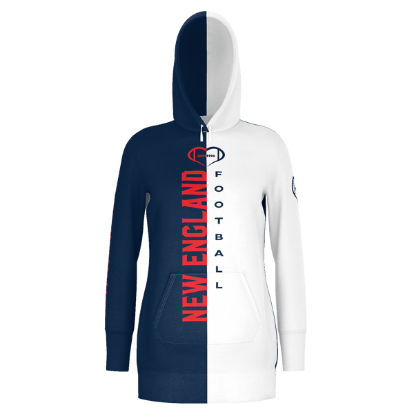 New England White Football Hoodie Dress