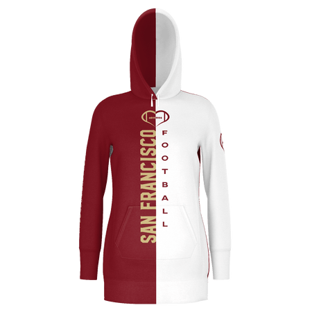 San Francisco White Football Hoodie Dress