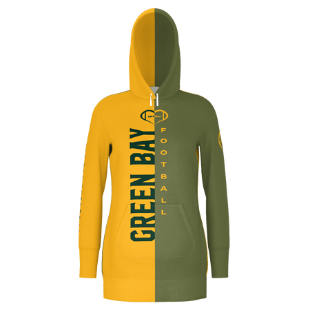 Green Bay Dark Football Hoodie Dress