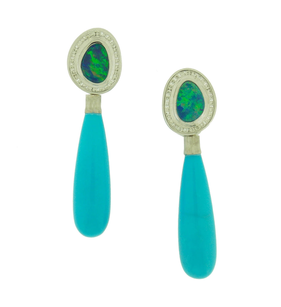 Opal, Diamond and Turquoise Earrings