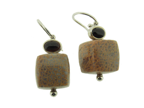 Dinosaur Bone Cube Earrings