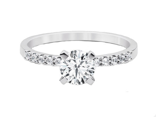 Diamond Narrow band with Solitaire Diamond