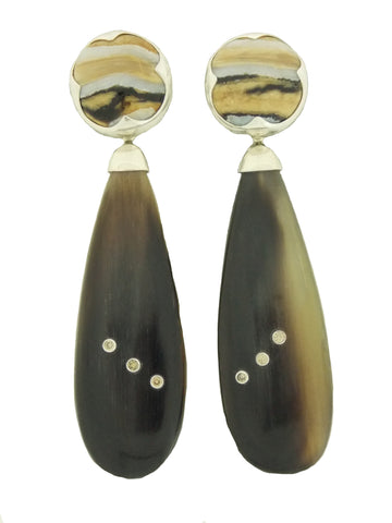 Cognac Diamond, Buffalo Horn and Fossilized Ivory Earrings