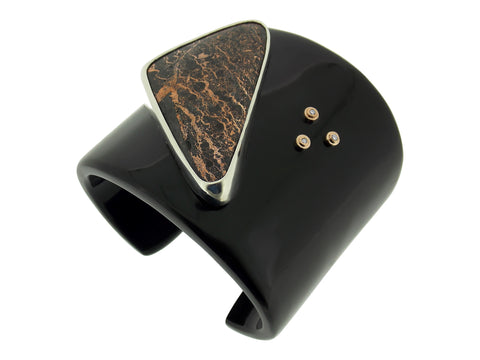 Buffalo Horn, Oregon Pulsite & Champagne Diamond Cuff