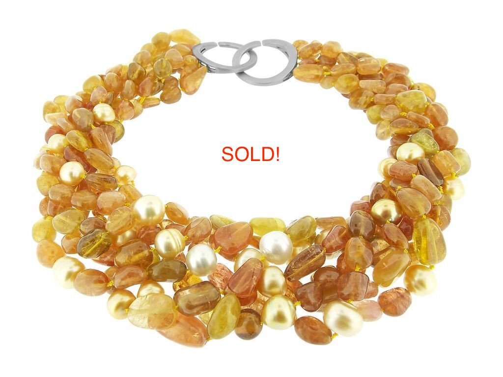 Golden Tourmaline & South Sea Pearl Necklace