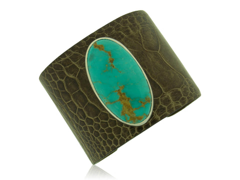 Leather & Turquoise Cuff
