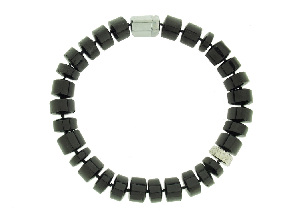 Black Tourmaline & Diamond Necklace