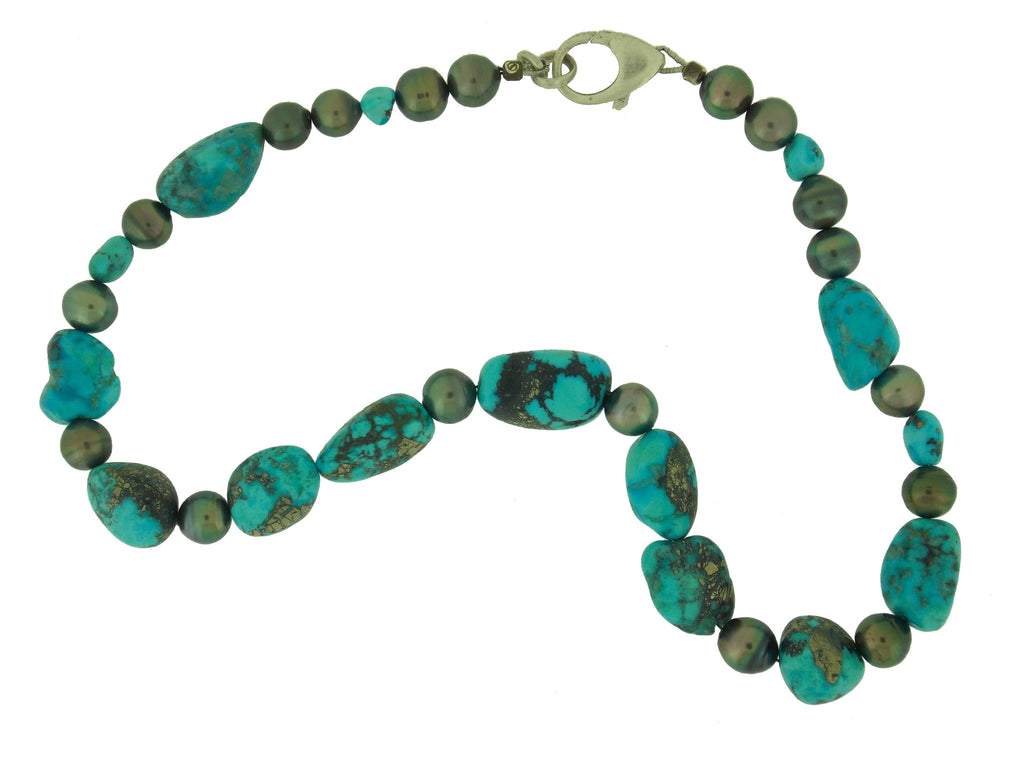 Rare Morenci Turquoise & Tahitian Pearl Necklace