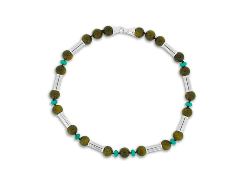 Bronzite, Turquoise and Silver Necklace