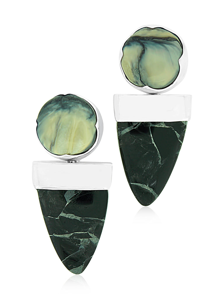 Magnetite Jade & Woolly Mammoth Earrings