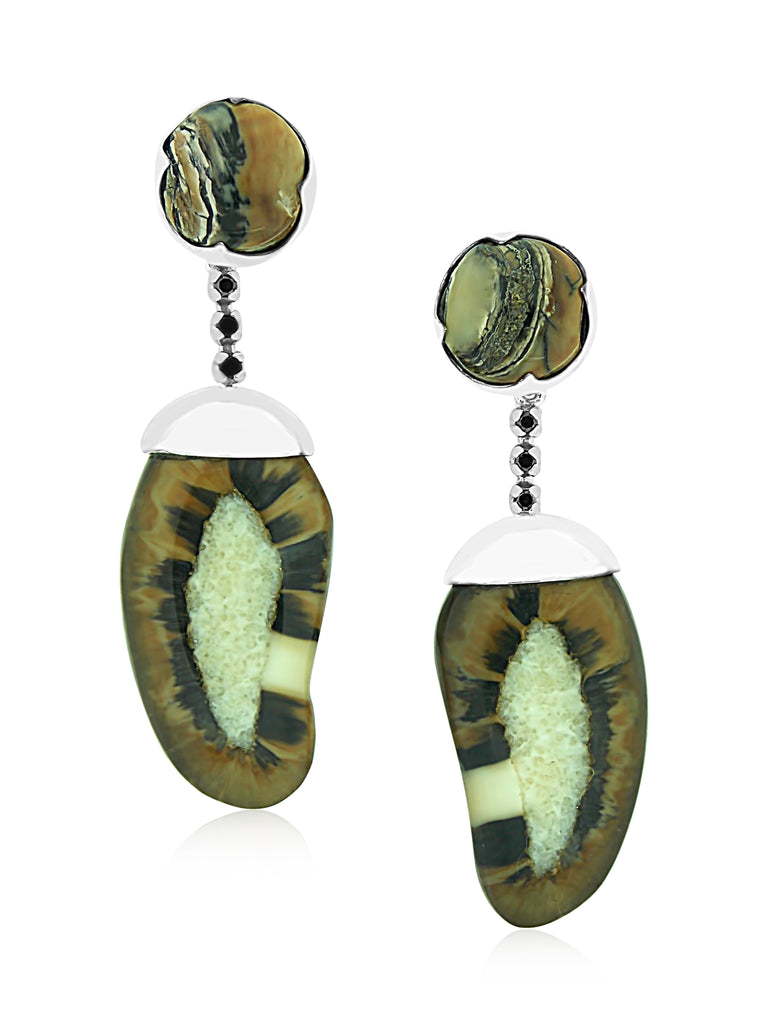 Starburst Walrus Ivory Earrings with Black Diamonds