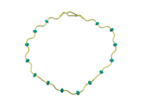 Turquoise and Gold Collar Necklace