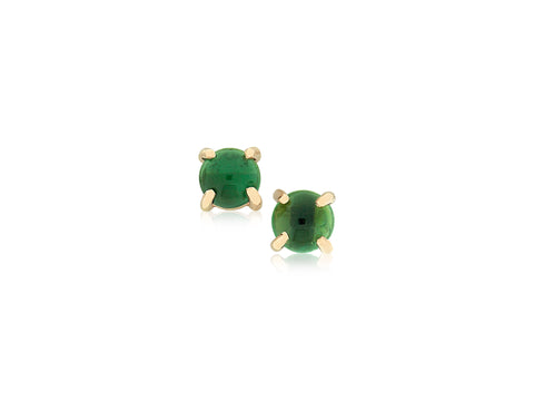 Green Tourmaline Cabochon Earrings