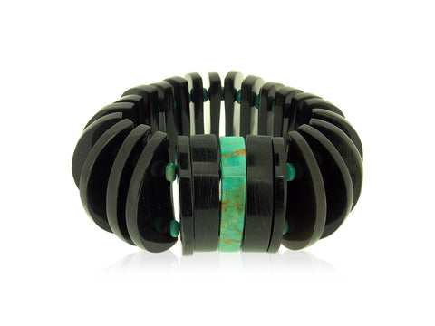 Arizona Turquoise and Black Buffalo Horn Bracelet