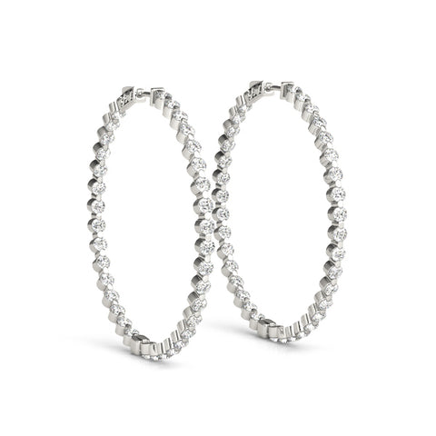 Bezel Diamond Hoop Earrings