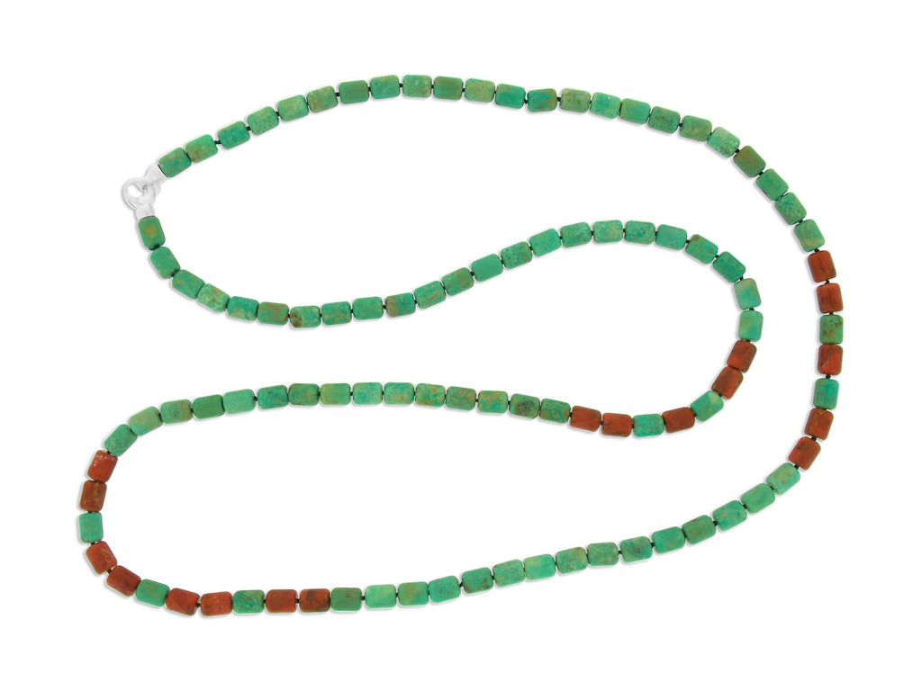 Turquoise & Coral Long Necklace