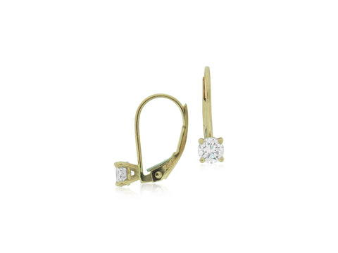 Diamond & Rose Gold Lever Back Earrings