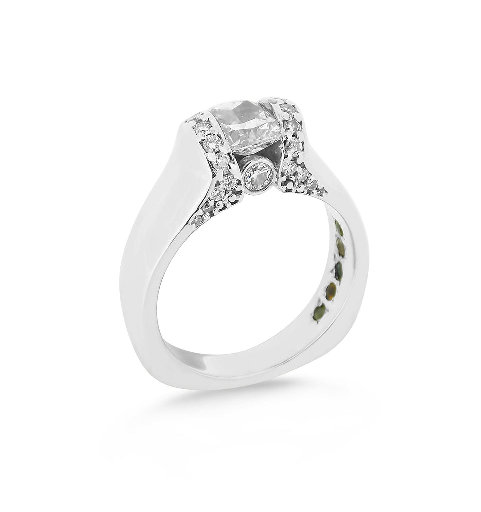 Elegant Cushion Custom Diamond Ring