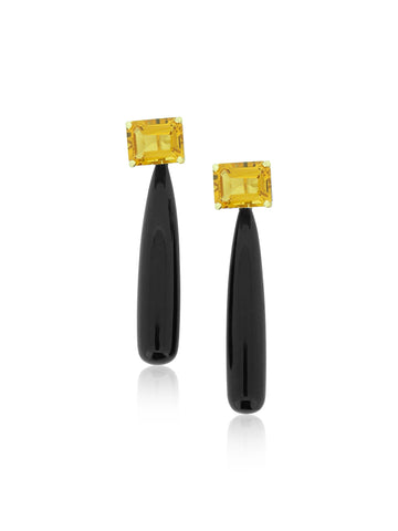 Citrine & Black Onyx Drop Earrings