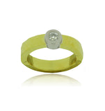 Hammered 18kt Gold & Diamond Ring