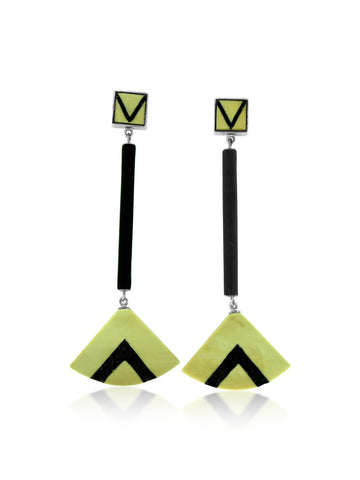 Inlay Jet and Fossilized Ivory Fan Earrings