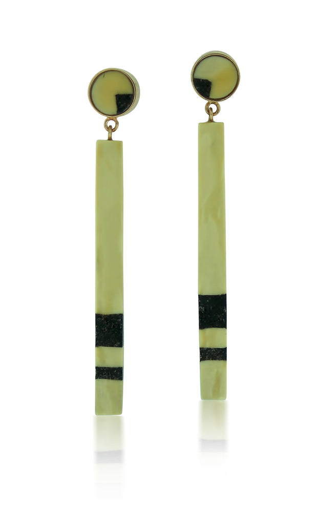 Black Inlay Jet & Fossilized ivory Earrings