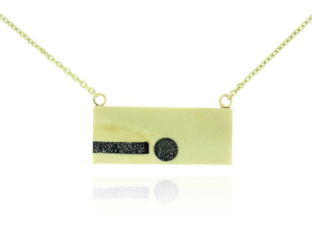 Inlay Black Jet & Fossilized Ivory Rectangle Pendant