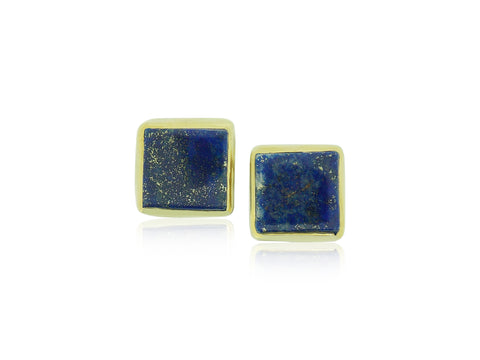 Blue Lapis Square Earrings