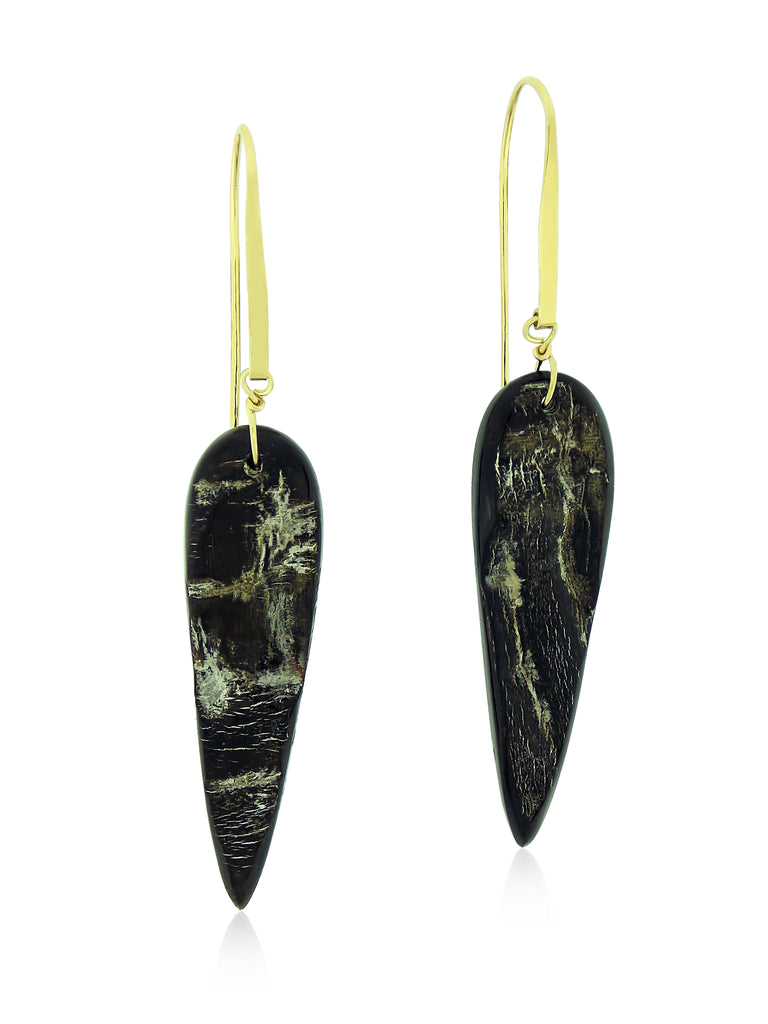 Exotic Horn and Gold Long Earrings