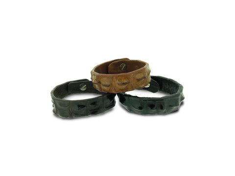 Crocodile Leather Narrow Cuff
