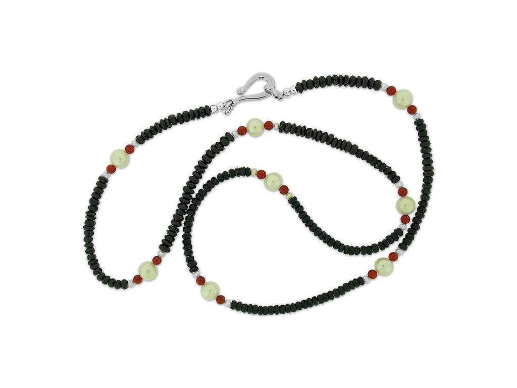 Onyx, Red Coral and Pearl Necklace