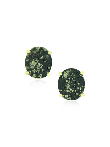 Slate & Gold Oval Earrings