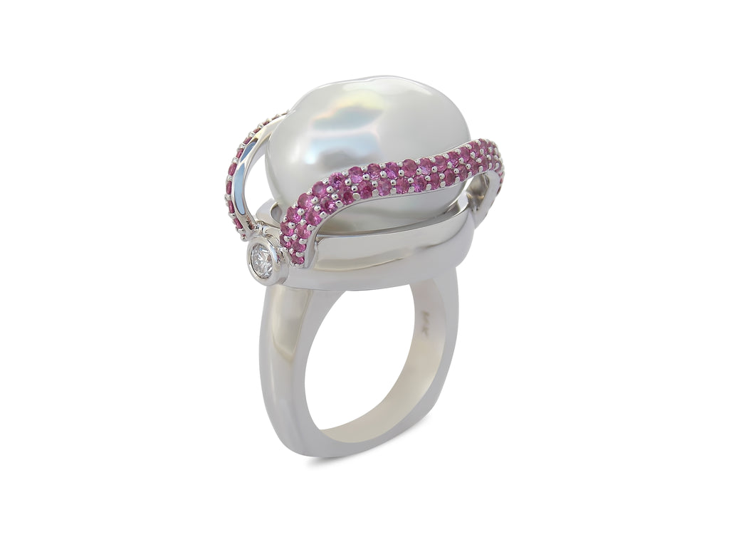 Baroque Pearl and Ruby Ring