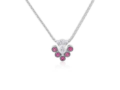 Pear Diamond Pendant with Pink Sapphires