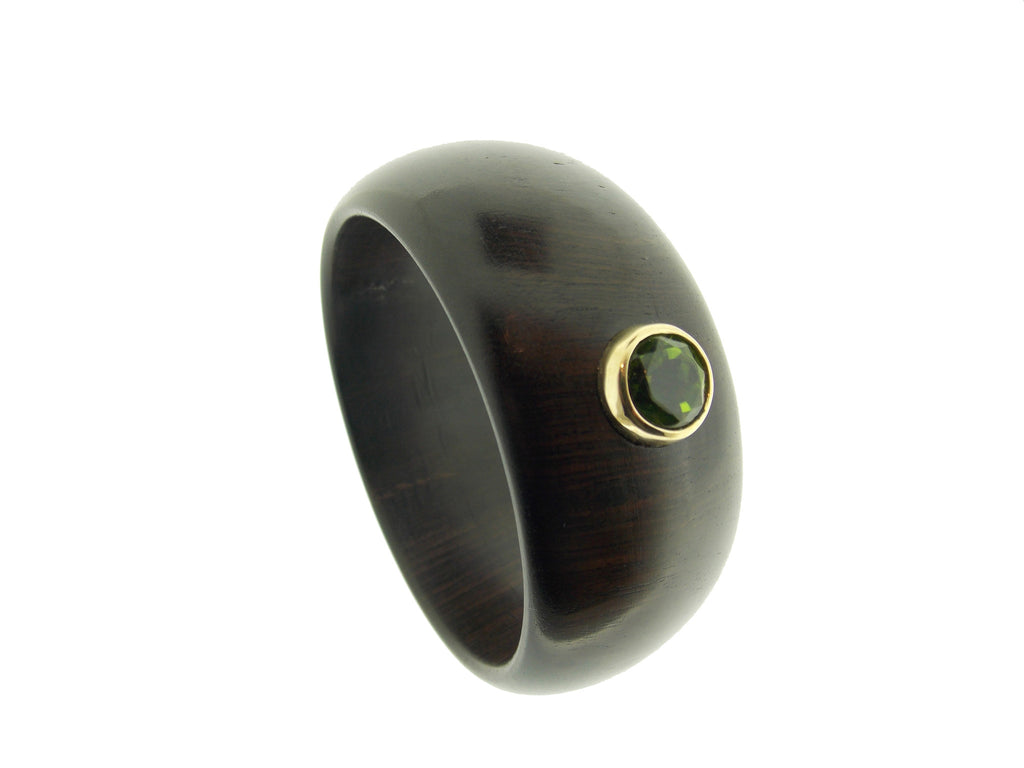 Peridot Gem Ebony Wood Bangle