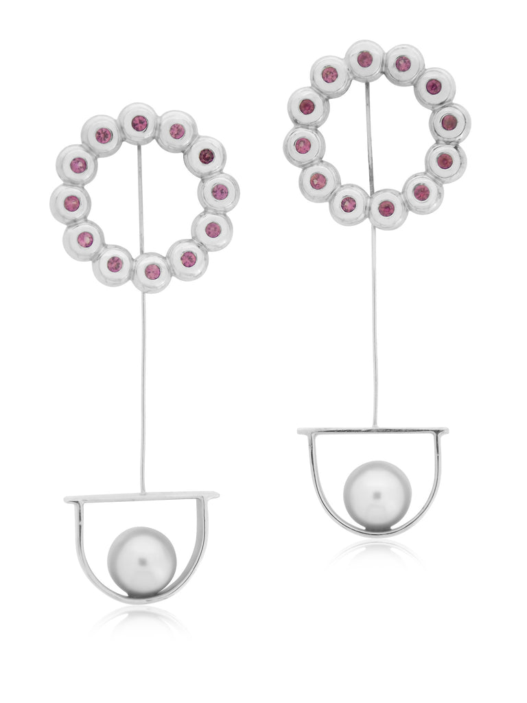 Pink Sapphire Earrings with Swinging Pearl Drops