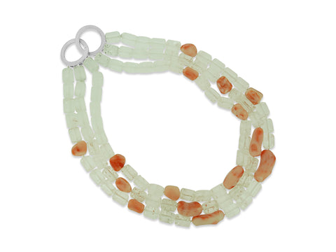 Angel Coral Triple Strand Necklace