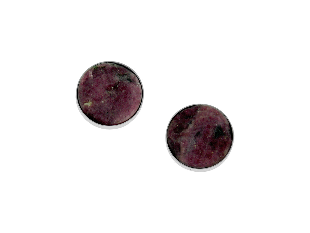 Natural Surface Ruby Earrings