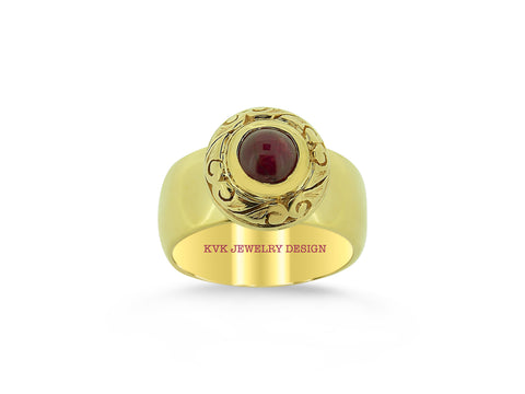Cabochon Burma Ruby Ring