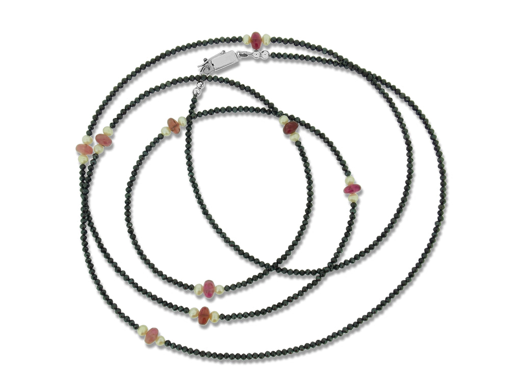 Spinel, Pink Tourmaline and Pearl Strand