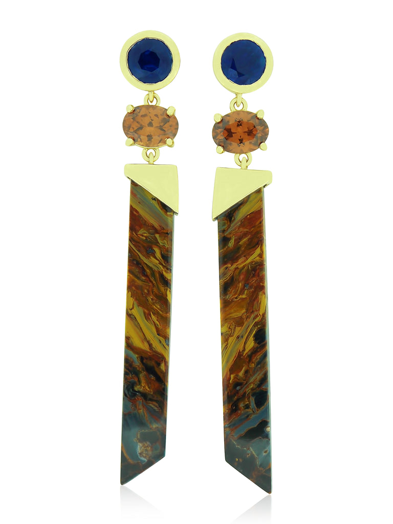 Pietersite, Mocha Zircon, Kyanite & Gold Earrings
