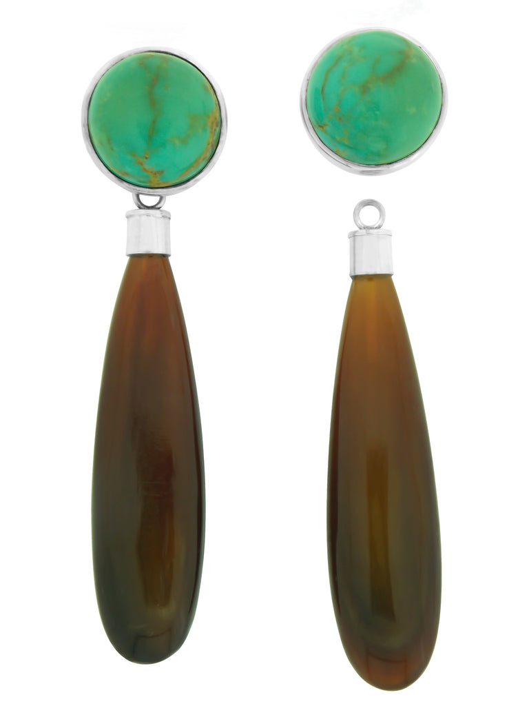 Buffalo Horn & Turquoise Earring Pair