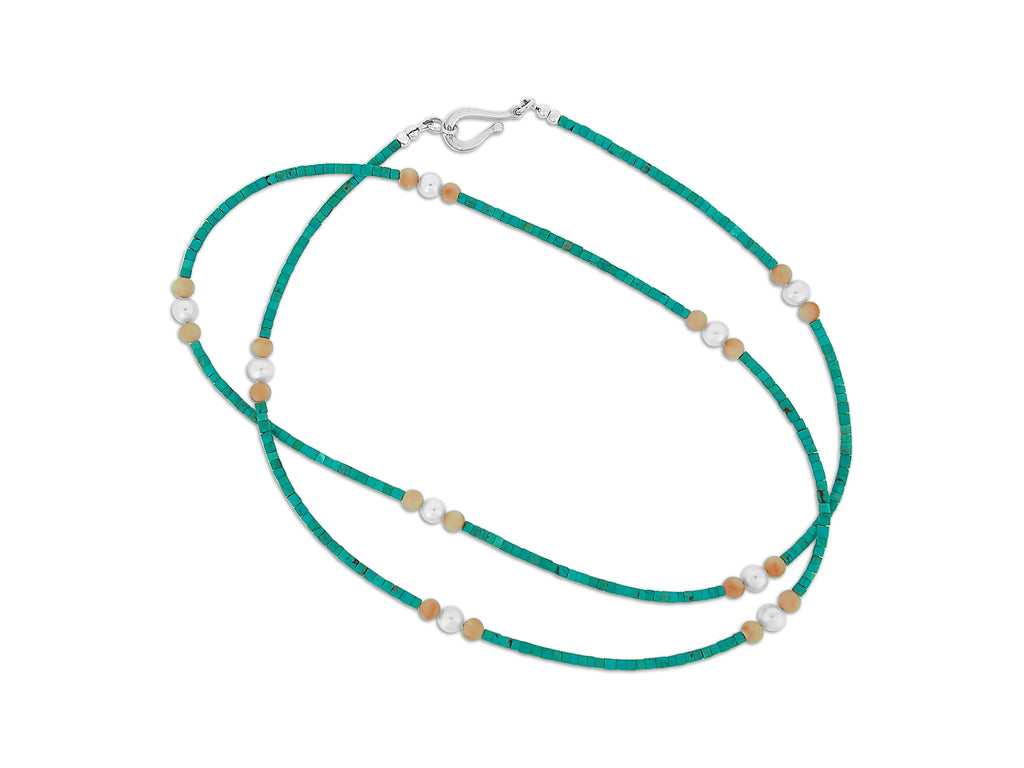 Coral, Turquoise, and Pearl Necklace