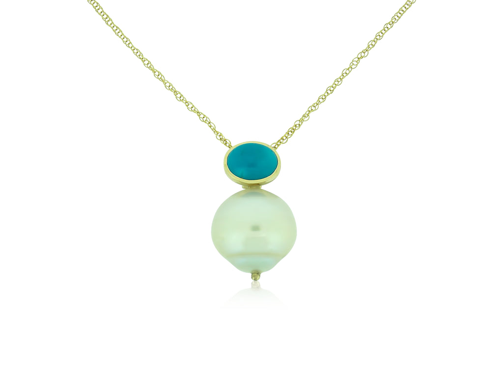 Turquoise and South Sea Pearl Pendant