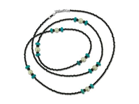Turquoise, Pearl and Spinel Long Necklace