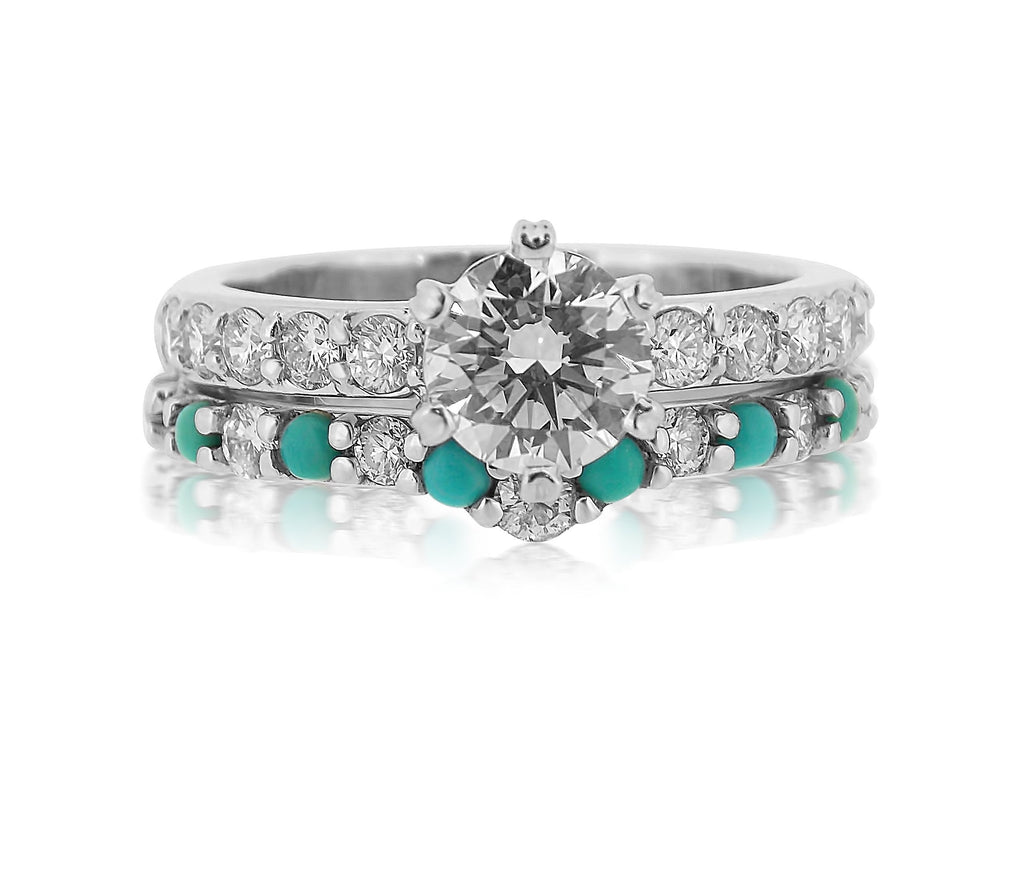 Turquoise & Diamond Wedding Set